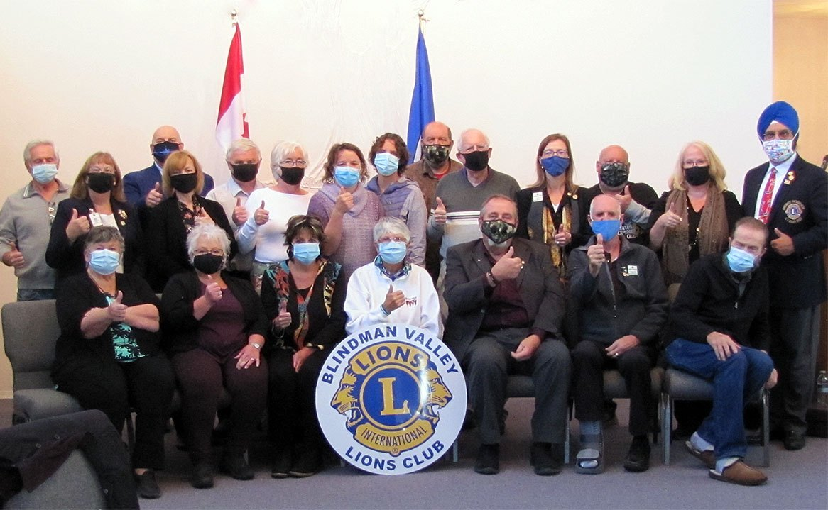 It was all thumbs up from District C-1 DG Prince Baweja, Guiding Lion PDG Frances Sawiak, and  members of the newly chartered Blindman Valley Lions Club. The hybrid event was well attended  in person and via Zoom from guests throughout Canada. This is District C-1's first new charter in many years.  Congratulations. It was all thumbs up from District C-1 DG Prince Baweja, Guiding Lion PDG Frances Sawiak, and  members of the newly chartered Blindman Valley Lions Club. The hybrid event was well attended  in person and via Zoom from guests throughout Canada. This is District C-1's first new charter in many years.  Congratulations.
