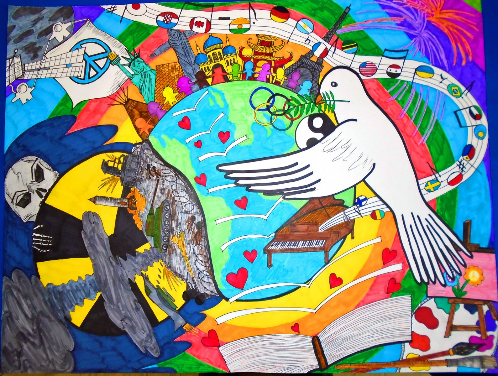 2017 District winning Peace Poster created by Luka Begovic, Gr. 8 student at Richard S. Fowler Catholic JHS in St. Albert, AB